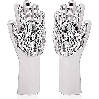 Magic Silicone Gloves Scrubbing Gloves For Dishes Dishwashing Gloves(White)
