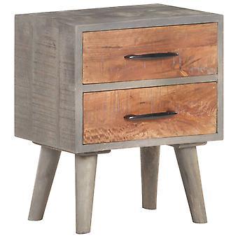 vidaXL nattbord grå 40x30x50 cm grov mango massivt tre
