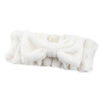 Bow Hair Band With Ruffled Elastic Face Wash Headband(White)
