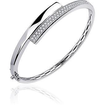 Gisser Jewels - Armband - Bangle Fantasy set med Zirconia - 11mm Bred - Storlek 60 - Gerhodineerd Zilver 925