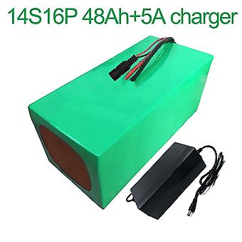 Battery With Charger 5a 48ah 52v Li-ion 18650 Rechargeable Electric Two Electric Three Wheel Motorcycle Accept Customization 14s16p 280 * 170 * 140mm