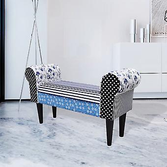 vidaXL Bench Patchwork Blue & White