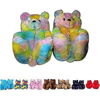 Teddy Bear Slippers Women Plush Home Indoor Winter Warm Slippers Anti-slip(Color)