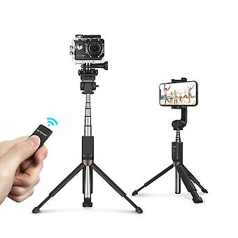 Extended Multi-angle Bluetooth Tripod Selfie Stick For Smartphone Sports Camera-black
