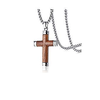 Titan Steel Crucifix Cross Hänge Neckalce Med Träinlägg - Hänge + Halsband Silver Perimeter
