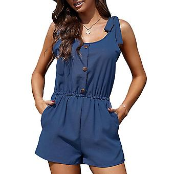 Women's Jumpsuit Solid Color Shorts Romper Casual Sleeveless Elastic Waist Loose