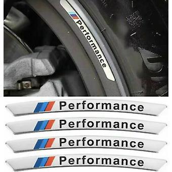 4ST legering M PRESTANDA Fälg Klistermärke Emblem Set för BMW Chrome - Passar alla