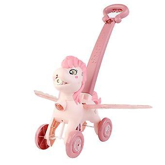 Maker Trolley Bubble Machine Kinder Outdoor Musik Licht Spielzeug Hochwertige Cartoon Hand (Pink)