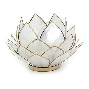 Natural White Capiz Shell Opening Lotus Flower Bulb Tealight Candle Holder