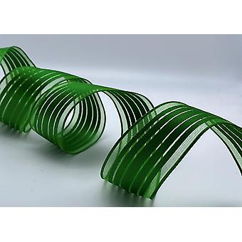 Wire Edged Ribbon 1.5 inches Wide Full Roll 45.7 Metres - Green with Stripe