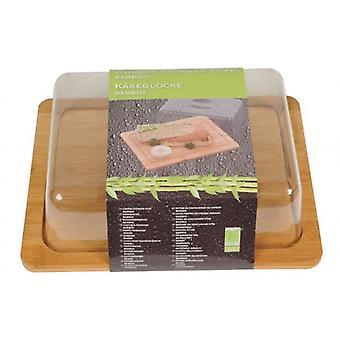 Bambus ost servering og oppbevaringsboks med plast lokk