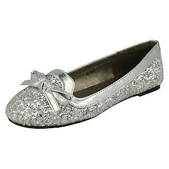 Girls Spot On Glitter Bow Detail Flats