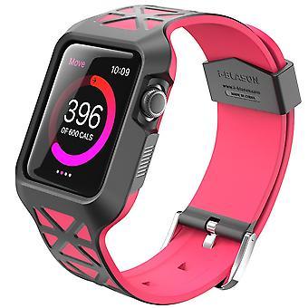 Apple Watch tapauksessa i Blason yhtenäisyyden sarjan Premium hybridi suojaava puskurin suojakotelo Apple Watch 42 mm 2015-vaaleanpunainen