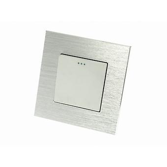 Jeg LumoS luksus sølv børstet Aluminium ramme 1 gjengen 2 måte Rocker veggen lys brytere