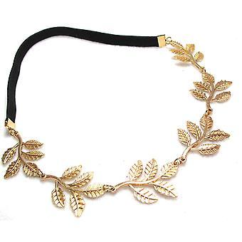 Fémes Sweet Lady Golden Leaf virág elasztikus Hair Band Headband által Boolavard® TM