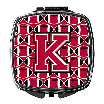 Letter K Football Crimson and White Compact Mirror