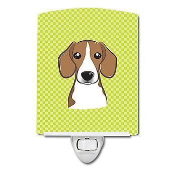 Checkerboard Lime Green Beagle Ceramic Night Light