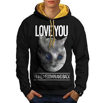 Moon Cute Adorable Cat Men Black (Gold Hood)Contrast Hoodie | Wellcoda
