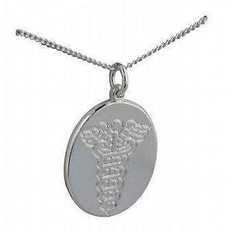 Silver 25x20mm oval medical alarm Disc with a curb Chain 24 inches