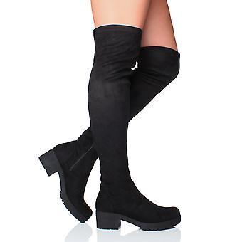 Ajvani женские низкой середине блока пятки шпильках по колено растянуть zip, сапоги для верховой езды