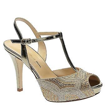 Sandales d'orteil ouvert de sangle talons hauts cheville avec plate-forme en lamellé cuir marron clair avec strass
