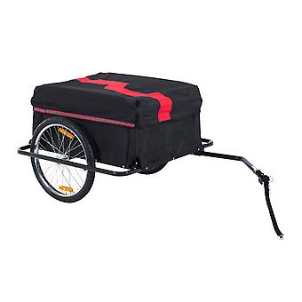HOMCOM Folding Bike Trailer Cargo in Steel Frame Extra Bicycle Storage Carrier with Removable Cover and Hitch (Red and Black)