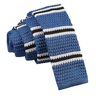 Niebieski z czarno-biały cienki pasek dzianiny Tie chudy
