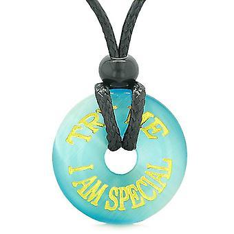 Inspiration zu versuchen mich ich bin besonderes Amulett Donut-Glücksbringer-himmelblau simuliert Katzen Augen Spaß Halskette