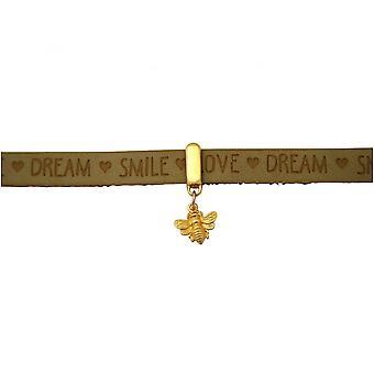 Damen - Armband - BEE - Biene - 925 Silber Vergoldet - Vergoldet - WISHES - Braun Sand - Magnetverschluss