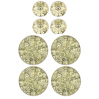 Pimpernel Damask Gold Round Placemats and Coasters Set of 4