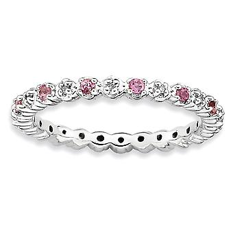 925 Sterling Silver Polished Prong set Rhodium plaqué Empilable Expressions Pink Tourm. et Diamond Ring Jewelry Gifts f