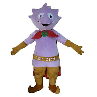 SPOTSOUND of little purple Monster mascot, with a cape and slippers