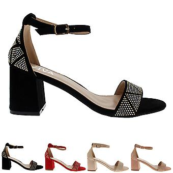 Womens Sandal Cut Out Block Heel Open Toe Barely There Ankle Strap Heels UK 3-8