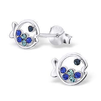 Vis - 925 Sterling Silver Crystal Ear Studs - W16514x