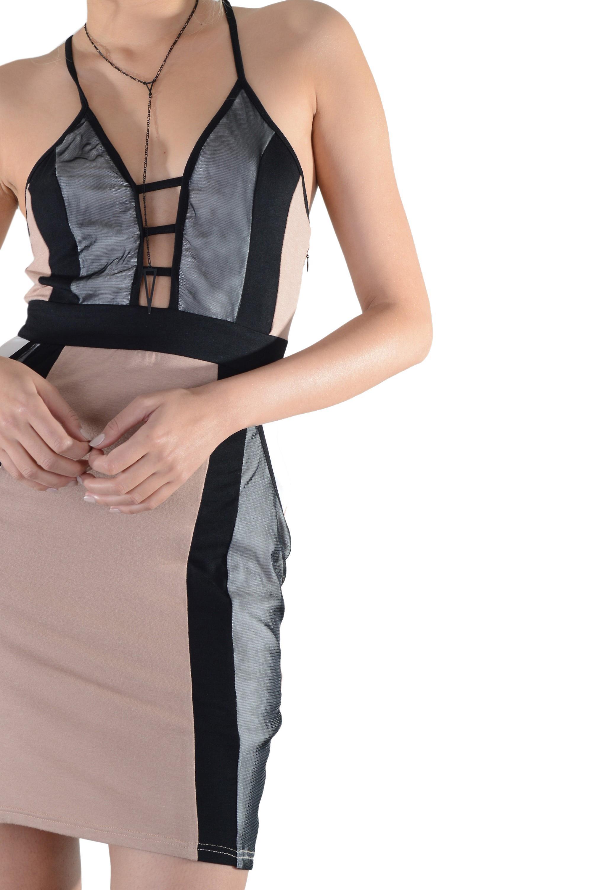 Lovemystyle Spaghetti Strap Nude V-Neck Dress With Mesh Inserts