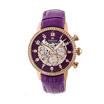 Empress Beatrice Automatic Skeleton Dial Leather-Band Watch w/Day/Date - Rose Gold/Purple