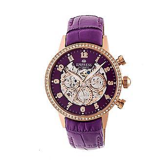 Kejsarinnan Beatrice automatisk skelett ratten läder-Band Watch w/dag/datum - Rose guld/lila