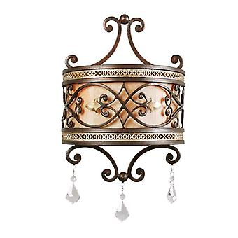 Glasberg  -  Antique Bronze Two Light Wall Lamp With Crystals  389020802