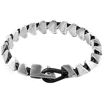 Anchor and Crew Brixham Maxi Round Leather and Chain Bracelet - Raven Black/Silver