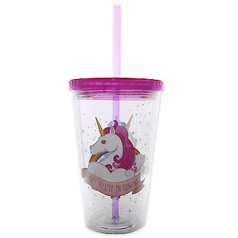 Einhorn Cup I don't BELIEVE IN HUMANS transparent, coloured printed plastic, including straw.