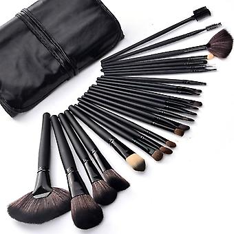 24pcs Professional Makeup brushes of genuine goat hair in leather case