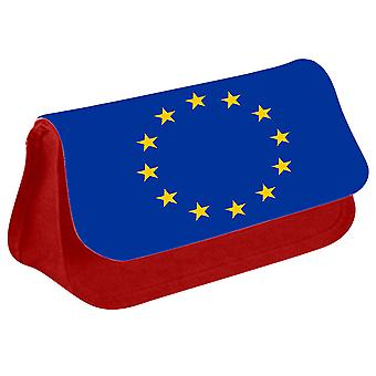 EU Flag Printed Design Pencil Case for Stationary/Cosmetic - 0209 (Red) by i-Tronixs