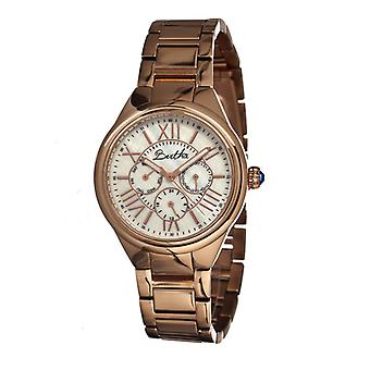 Bertha Rachel Ladies Bracelet Watch w/Day/Date - Rose Gold/White