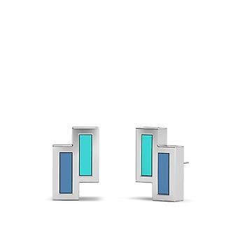WWE Evolution Sterling Silver Asymmetric Enamel Stud Earrings In Blue Green and Sky Blue