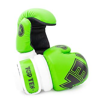 Top Ten Glossy Block Pointfighter Guantes Verde/Blanco
