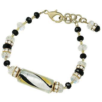 Bracelet de verre vénitien de Murano éternelle Collection Dolcezza Black Silver et Gold