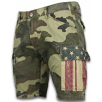 Shorts - Slim Fit Camouflage Shorts - Light Green