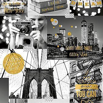 Muriva grote stad wallpaper New York foto patroon glitter motief typografie L31002
