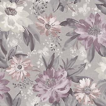 Arthouse Painted Dahlia Flower Pattern English Garden Traditional Hand Painted Wallpaper 676106