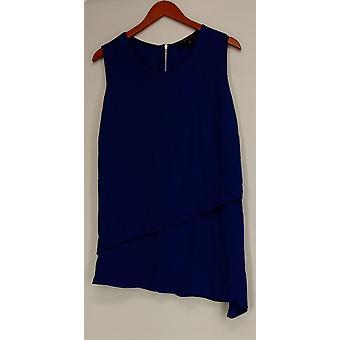 Nancy O'Dell Top Sleeveless Back Zip Flare Tank Top Blue Womens A425388